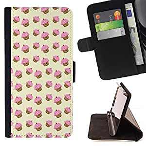 BullDog Case - FOR/HTC One M8 / - / muffin cupcake yellow pink pattern cute /- Monedero de cuero de la PU Llevar cubierta de la caja con el ID Credit Card Slots Flip funda de cuer