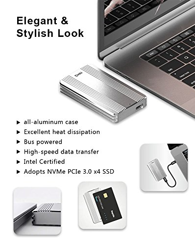 [Certified] 480G TEKQ Thunderbolt 3 Portable External SSD Bus Powered Portable 2450MB/s Read / 1850MB/s Write (NOT Compatible with Device Without Thunderbolt 3 Interface)(Silver) by TEKQ (Image #5)