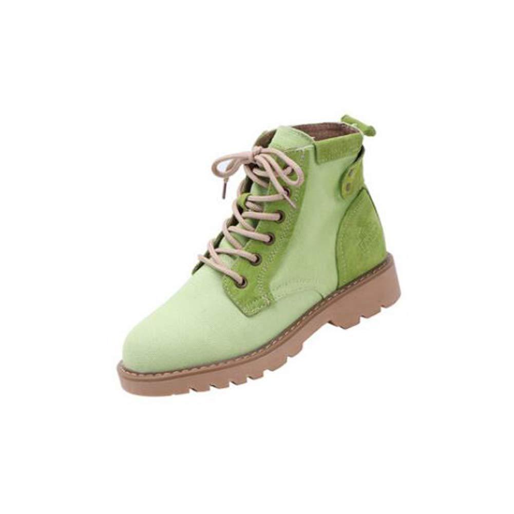 LF Frühling und Herbst Stiefeletten Martin Stiefel Student Stiefel (Farbe   Grün Größe   EU39 UK6 CN39)