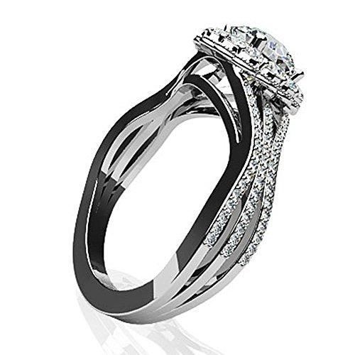 14K Or blanc vintage Diamant rond Bague de fiançailles