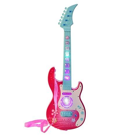 MRKE Guitarra Electrica Niños 53cm 4 Cuerdas Rock Juguete de Instrumentos Musicales Guitarra Regalo con LED