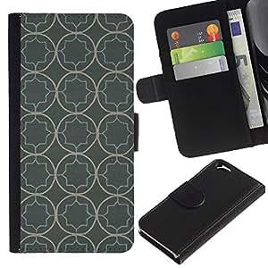 Billetera de Cuero Caso Titular de la tarjeta Carcasa Funda para Apple Iphone 6 4.7 / Wallpaper Pattern Rustic Grey Gray / STRONG