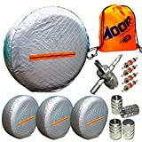 Tire Covers for RV Wheel 4 Pack, Waterproof UV Reflective Safety Tire Protectors, Fits 26'' to 29'' Wheels, GIFT:Storage Bag,4 Tire Valve Cap,4-Way Valve Tool-10PC