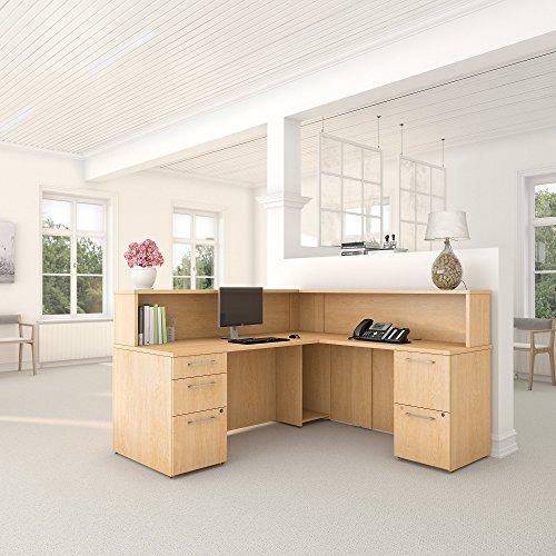 Bush Business Furniture 300 Series Natural Maple L Shaped Reception Desk with 2 and 3 Drawer Pedestals 2 Drawer Maple Pedestal