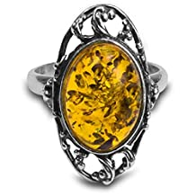 Sterling Silver Baltic Amber Grapevine Ring Cabochon Size 10x14mm