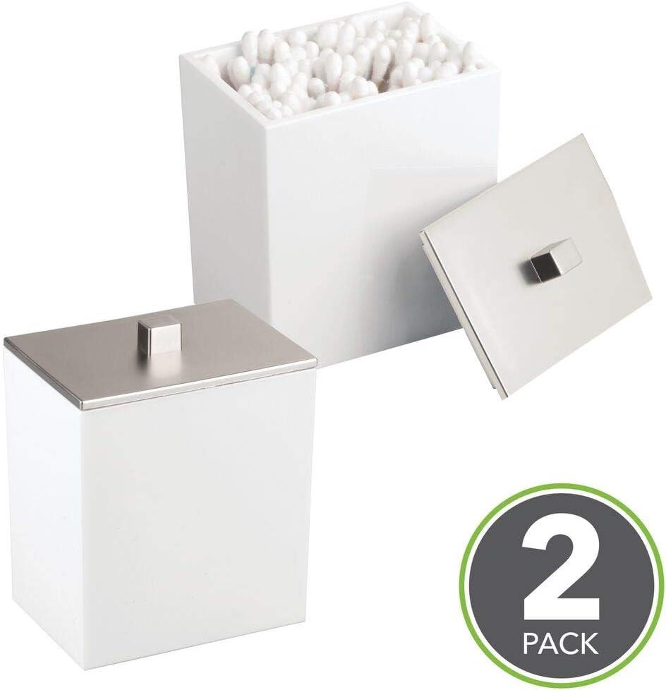 mDesign Juego de 2 envases para cosméticos – Dispensador de discos de algodón y caja para bastoncillos – Modernos botes con tapa para productos de aseo – Fabricados en plástico – blanco/plateado: Amazon.es: Hogar