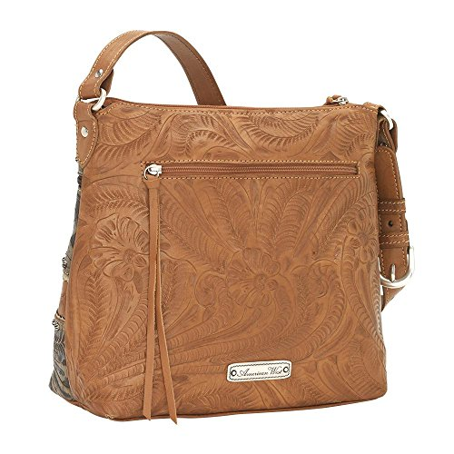 American West Women's Saddle Ridge Zip Top Shoulder Bag Chocolate One Size by American West (Image #3)