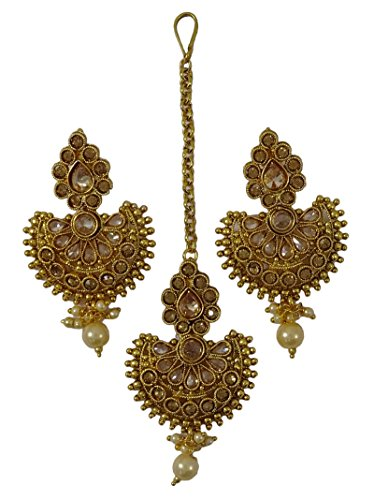 Matra Indian Ethnic Goldtone Maang Tikka Earring Set Traditional Wedding Party Wear Jewelry