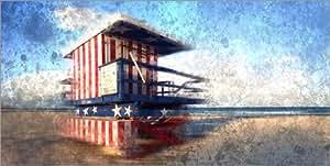 Cuadro sobre lienzo 100 x 50 cm: Modern Art in MIAMI BEACH Watchtower de Melanie Viola - cuadro terminado, cuadro sobre bastidor, lámina terminada sobre lienzo auténtico, impresión en lienzo