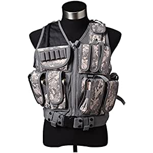 EDTara Tactical Vest Breathable Reticular Camouflage Body Armor CS Field Protective Outdoor Supplies Combat Training Vest Adjustable Size Tactical Belt
