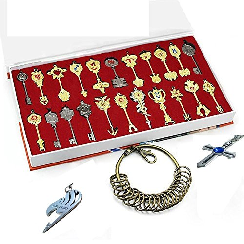 xcoser Fairy Tail Key Blade 22pcs Keychain Necklace Pendant Cosplay Collection Set 2017 -