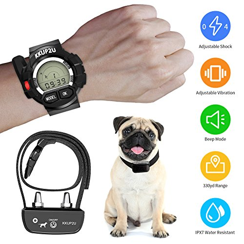 KKUP2U Dog Shock Collar 338 yd, Rechargeable and Waterproof Dog Training Collar with Remote, Beep/ Vibration/ Shock Electric Collar for All Size Dogs ( Puppies 10-70 lbs, Adult Dogs 10-50 lbs)