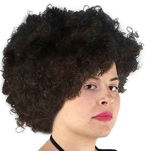 Black Afro Wig | 70's, Hippie, Disco Costume Wig, Funky Black Afro Puff Hair]()