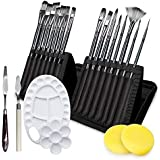 Adkwse Paint Brush Set for Acrylic Oil Watercolor Canvas Gouache Painting Brushes Includes Pop-up Carrying Case with 1…