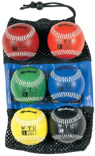Markwort 9-Inch Leather Cover Weighted Baseball Set (1 each 7oz, 8oz, 9oz, 10oz, 11oz, 12oz) by Markwort