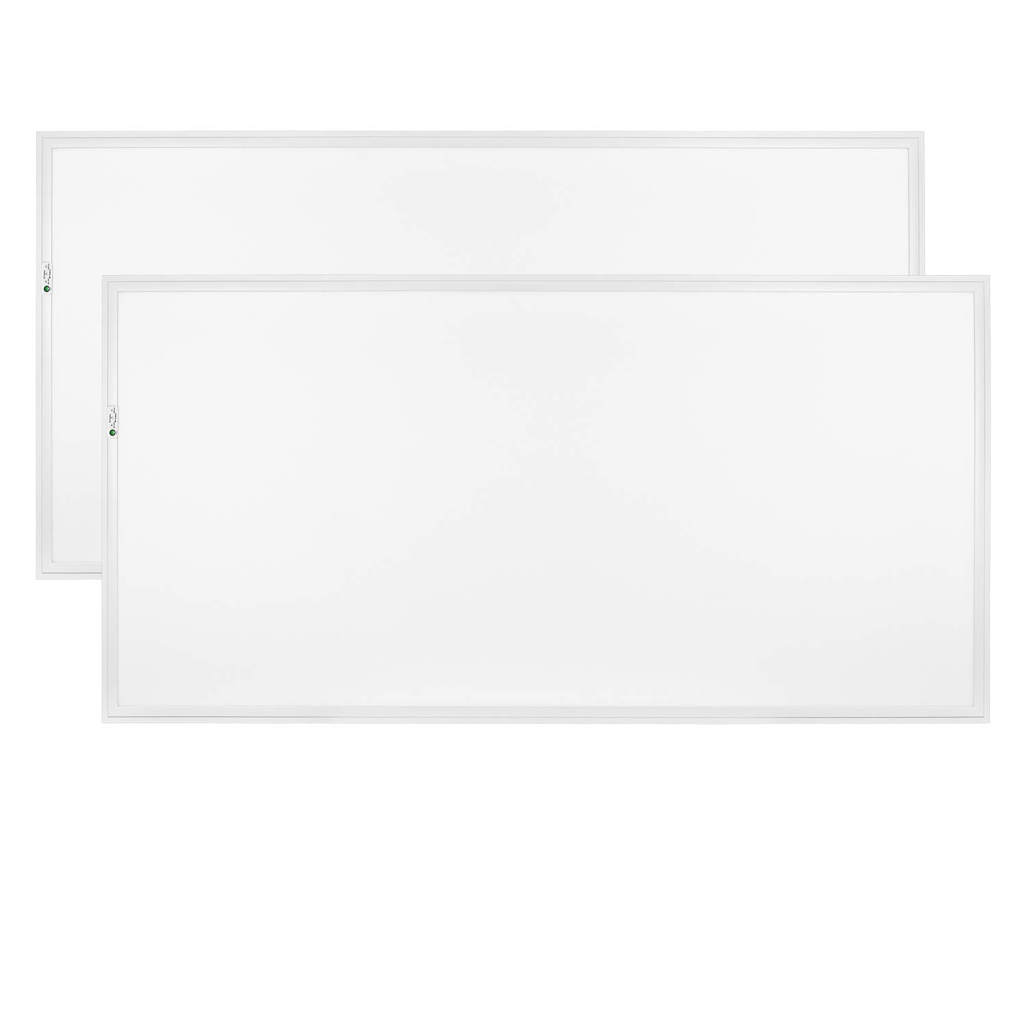 Luxrite 2x4 LED Flat Panel Light with Emergency Battery Backup, 60W 6500K Daylight White, 0-10V Dimmable, 6960 Lumens, LED Drop Ceiling Lights, 100-277V, UL Listed, Ultra Thin Edge Lit - 2 Pack