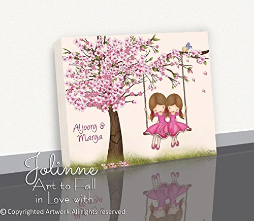 Girl Canvas Wall Art Personalized (Cherry Blossom Tree Girls Wall Art Decoration Canvas Print Sisters Bedroom Personalized Text Picture 8