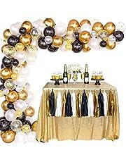 Balloon Arch Garland Kit, White Black Gold Balloons Party Supplies, 100Pcs Metal Latex Balloons, DIY Balloon Arch Garland Kit for Graduation, Wedding, Birthday Decor