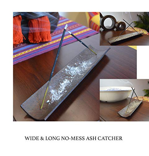 Designer Incense Holder & Burner - Best Luxury No-Mess Ash Catcher Perfect For Home With Elegant Decorations - Premium Double Insence Stick Holes For Extra Aroma & Mixing Scents During Your Meditation