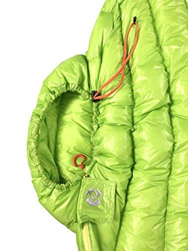 AEGISMAX Outdoor Urltra Light Goose Down Sleeping Bag Three Season Down Sleeping Bag Mummy Down Sleeping Bag Green L200cmW86cm