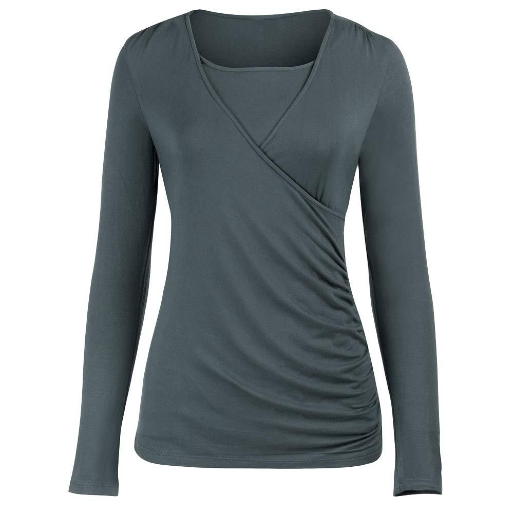 T-Shirts de Grossesse Femme T-Shirt de Maternit/é pour lallaitement Maternel Double Couche Tops Rayures Haut Chemisier T-Shirt