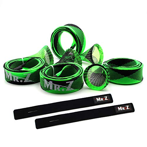 Mr. Z Pack of 4 Casting Fishing Rod Sleeves with 2 Rod Straps Fishing Rod Covers Pole Jacket Rod Socks (Green and Black)