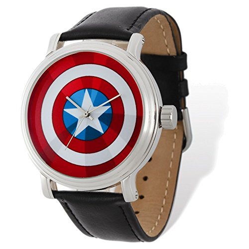 Marvel+Watches Products : Marvel Adult Size Captain America Black Leather Band Watch