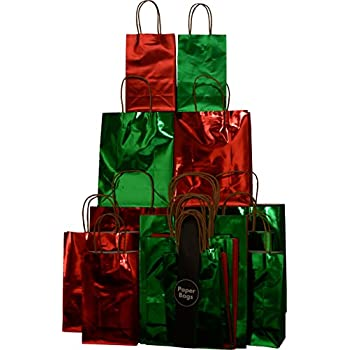 Amazon Com 20 Christmas Gift Bags Red Amp Green Hot Stamp
