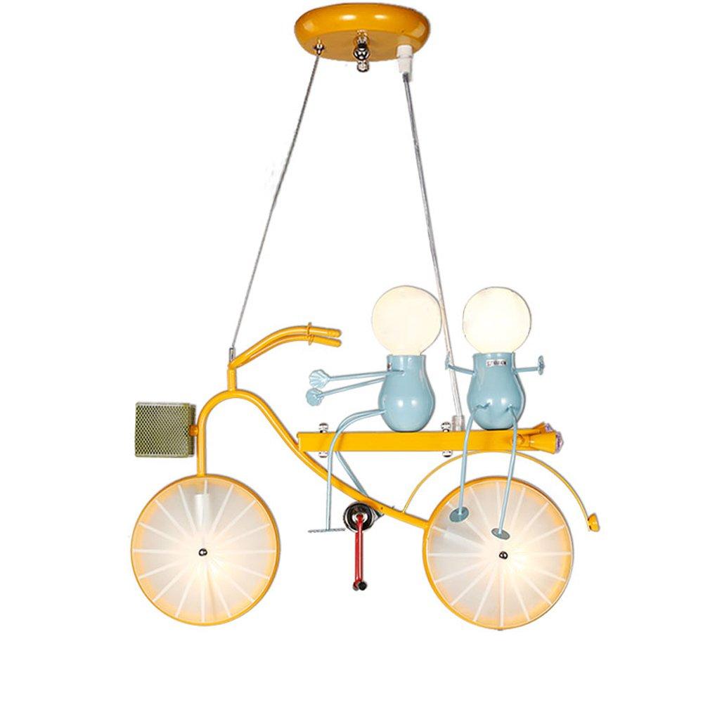 漫画LEDシャンデリア、北欧2人形自転車型照明装飾鉄シャンデリア天井ランプポストモダンリビングルーム保育園子供用ペンダントライト B07TWKRYBD