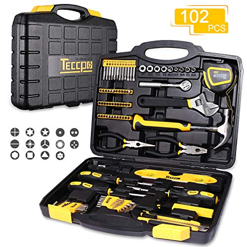 - Tool Set, TECCPO 102-Piece Household Hand Tool Kit with Hammer, Wrenches, Precision Screwdriver Set, Pliers and Toolbox Storage Case for Home Repair-THTC01H