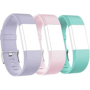 RedTaro Replacement Elastomer Wristband for Fitbit Charge 2, Small (5.9-8.6)-Inches, 001 - Light Lavendar, Blush Pink and Teal