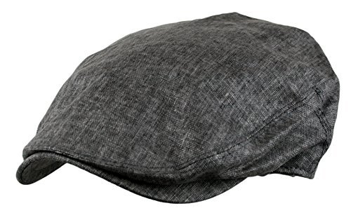 Men's Linen Gatsby Newsboy Golf Flat Ivy Hat (GREY,SM) -