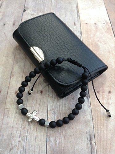 Cross bracelet for men black beads adjustable mens black bracelet. Pulsera para hombre