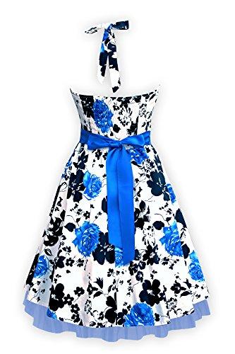 Black Butterfly Robe Années 50 Vintage Serenity Rhya (Blanc Et Bleu, FR 46 - XXL)
