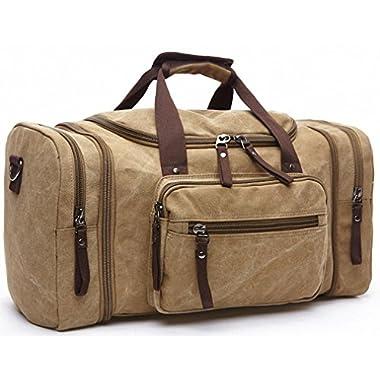 Kenox Oversized Canvas Travel Tote Luggage Weekend Duffel Bag (Khaki-2)