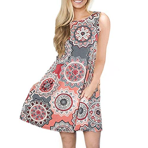 Gogolan Casual Shirt Pockets Dress Print Women Color6 with T Damask Floral Sleeveless r4fXrxqgw