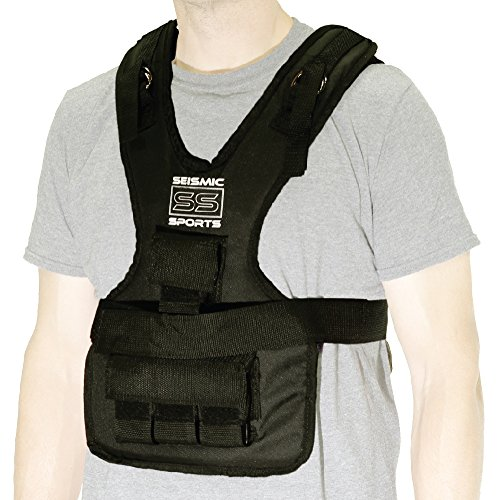 Seismic Sports SS20VBK - Adjustable Weighted Vest 20 lb Black for Crossfit, HIIT, Strength, Cross Training and Cardio Exercise by Seismic Sports