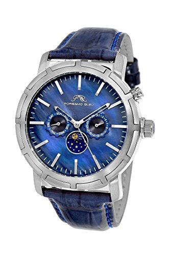 Porsamo Bleu Luxury NYC Moon Genuine Leather Silver Tone & Blue Men's Watch with Sun & Moon Display 058ANYL