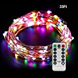 Lights Strings with Remote Control, Ofun 100 Leds Twinkle lights 33 Ft Copper Wire Lights for Indoor Outdoor, Decorative Lights,with Twinkling Feature, Multicolor Leds