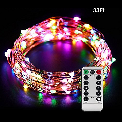 Christmas Lights Strings with Remote, Ofun 100 Leds Twinkle lights 33 Ft Copper Wire Lights for Indoor Outdoor, Christmas Decorative Lights,with Twinkling Feature, Multicolor Leds (Small Led Lights For Cars compare prices)