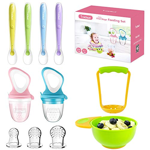 Food Feeder, Baby Fresh Fruit Feeder (2 Pack) with 3 Different Sized Silicone Pacifiers, Mash and Serve Bowl with 4 Soft-Tip Silicone Baby Spoons, Perfect Baby First Stage Feeding Set by MICHEF