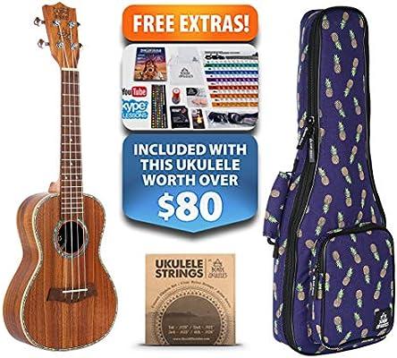 Ripple Koa Concierto Ukelele para zurdos (15-gratis) Estuche de esponja de compresión, cuerdas Aquila, palillos de fieltro, sintonizador, sello de acorde, gráfico de acordes, correa de cuero, lección en vivo y más (