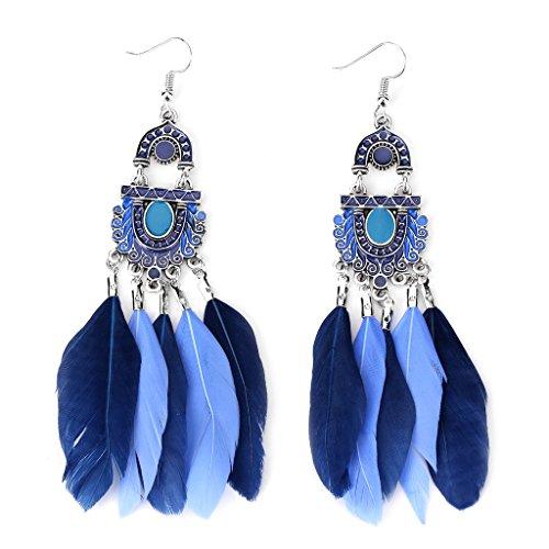 Price comparison product image NNDA CO Vintage Women's Bohemian Feather Tassel Dangle Drop Dangling Earrings Jewelry