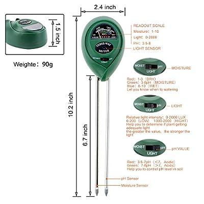 Soil Test Kit, 3 in 1 Soil Tester Soil Moisture Meter, PH and Light Acidity Tester, Gardening Tools for Home/Patio/Lawn/Garden/Farm
