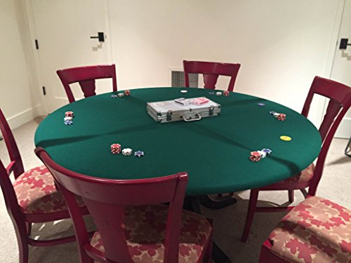 Green Felt Poker Table Cover - fitted Poker Tablecloth - Green - For Round 60 Inch Table - Elastic Bl (Green Felt Poker Table)