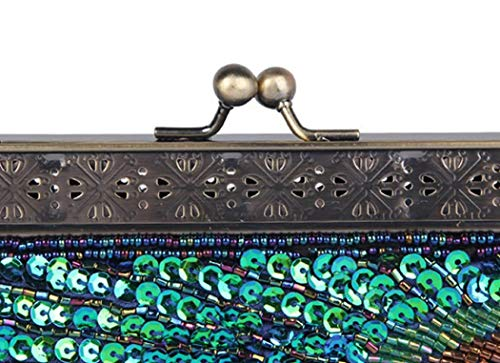 Clutch Sequin Bag Antique purple Beaded Evening Purse Peacock Bags Green Vintage Eye Catching Turquoise Handbag For Wedding SdqEd