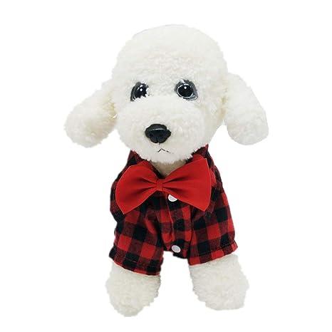 AMURAO Camisa de Perro de Tela Escocesa Traje de Boda para ...