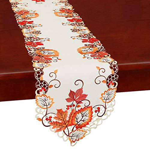 Simhomsen Thanksgiving Harvest Maple Leaves Table Runners, Autumn Or Fall Decorations, Embroidered (14 × 69 -