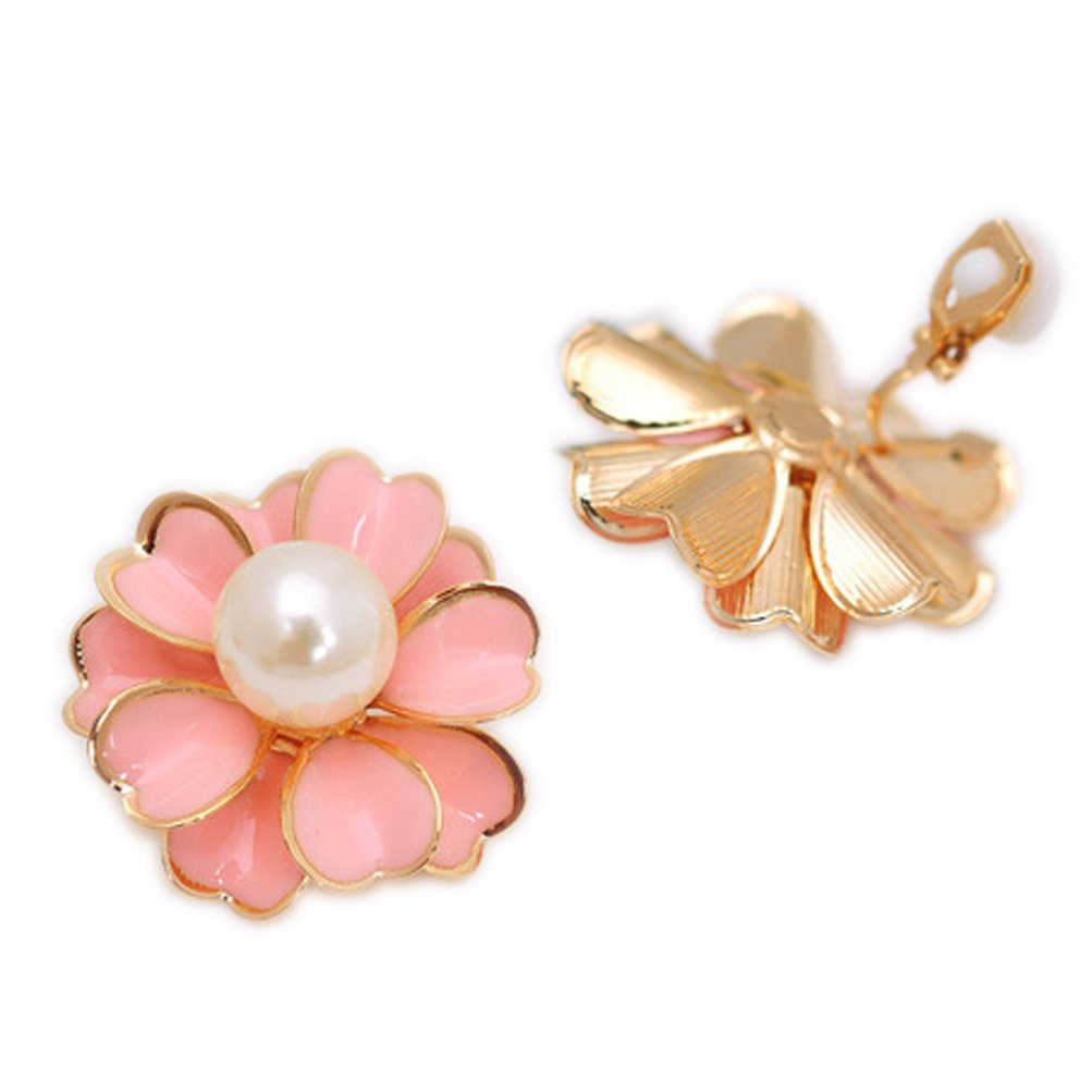 Layered Flower Soft Mat Back Clip on Earring Clips for non Pierced Simulated Pearl Girl Pink