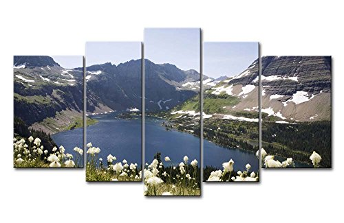 So Crazy Art 5 Piece Wall Art Painting Glacier National Park Lake Snow Mountain Fllower Pictures Prints On Canvas Landscape The Picture Decor Oil For Home Modern Decoration Print For